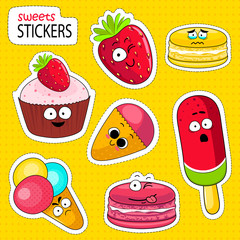 Cartoon sweets cute characters face isolated vector illustration. Funny sweets face icon vector collection. Cartoon face food emoji. Sweets emoticon. Funny food stickers.