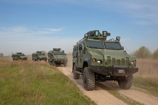 A column of vehicles at the demonstration