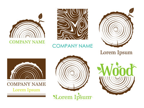 Set a cross section of the trunk with tree rings. Vector. Logo. Tree growth rings. Tree trunk cross-section. flat icon.