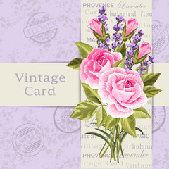Vintage card with flowers