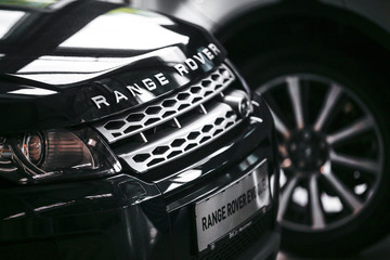 Range Rover Evoque cars are on display at car dealer in Berlin