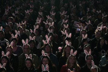 Visitors wearing rabbit ear headbands watch a night parade held to celebrate Chinese New Year in Hong Kong