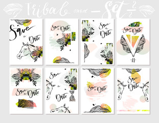 Hand made vector abstract graphic Save the Date tribal tropical exotic Valentines day cards set collection in pastel colors isolated on white background.Unusual cards for Business,decoration