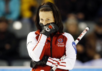 Team Canada's Nedohin looks looks on during their twelfth draw against Saskatchewan at Scotties Tournament of Hearts curling championship in Kingston