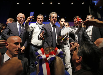 Nicolas Sarkozy former head of the Les Republicains political party reacts at the end of a political rally in Toulon as he campaigns for the French conservative presidential primary