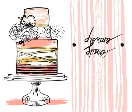 Hand drawn vector cute birthday or wedding template card with cake illustration in gold,pastel,black and white colors,with stripes and flowers decoration on cake stand isolated on white background.