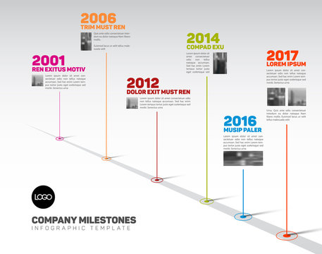 Infographic Timeline Template with pointers and photos