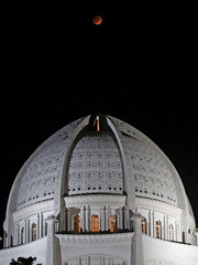 A blood moon rises above the Baha'i Temple in Wilmette