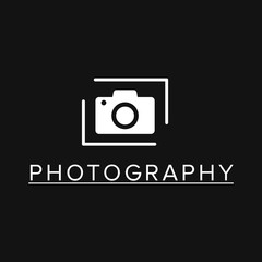 White Vector Icons for Photographer on Black Background. Camera Icon
