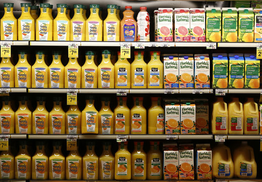 Various brands of orange and grapefruit juices are seen at the Safeway store in Wheaton Maryland