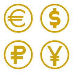coin icon set. Euro, dollar, ruble, yen. vector