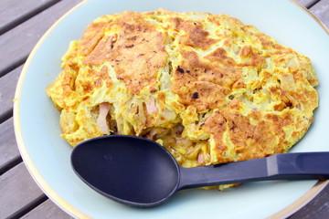 omelette ,lardons,oignon,pomme de terre,