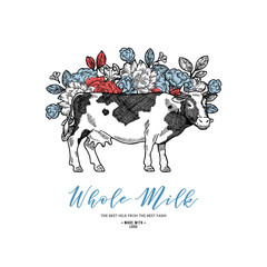 Farm cow with flowers design template. Cow illustration. Vector illustration
