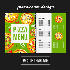 Cover design for print pizza menu, cafe vector template