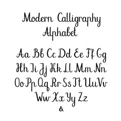 Calligraphic vector font. Decorative uppercase, lowercase and ampersand. Wedding brush calligraphy. Handwritten script alphabet