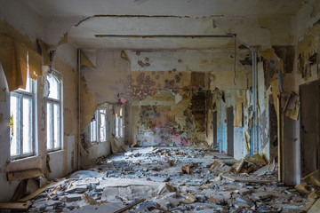 The old and ruined room of a building, lost places Wall mural