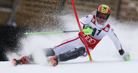 Hirscher of Austria skis during the first run of the men's Slalom event at the Alpine Skiing World Cup downhill ski race in Kitzbuehel
