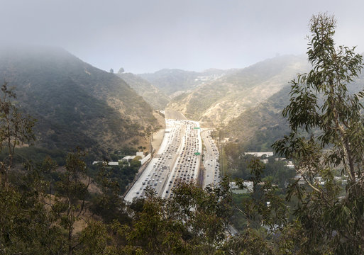 Interstate 405 Freeway near Brentwood, Los Angeles, aerial view
