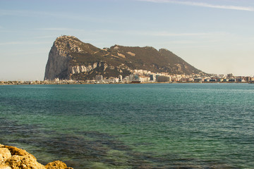 View at Rock of Gibraltar via Mediterrian sea from Spain seaside
