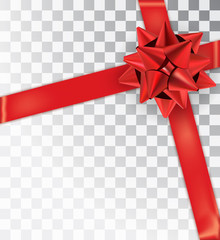 Realistic bow red satinisolated on a transparent background.