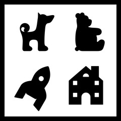 Black outline of dog, rocket, house, bear