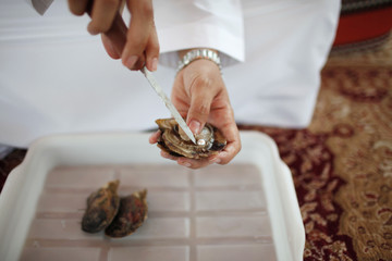 A man uses a knife to extract a pearl from an oyster at RAK's oyster farm off the coast of Ras Al Kaimah, one of the seven emirates that make up the United Arab Emirates