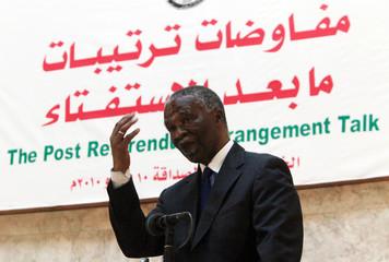 Former South African president Thabo Mbeki addresses the opening session of the Post Referendum Arrangement talk in Khartoum
