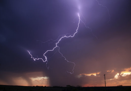 Huge lightning strikes cross the skies as thunderstorms supercells pass through areas in Archer City, Texas
