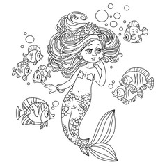 Beautiful little mermaid girl amazement communicates with the fish outlined isolated on white background