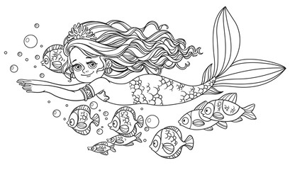 Beautiful little mermaid girl swim with fish outlined isolated o