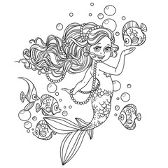 Beautiful little mermaid girl outlined isolated on a white backg