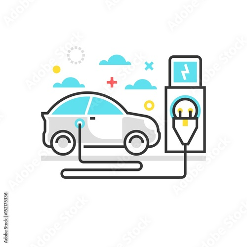 Color Box Icon Electric Car Illustration
