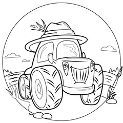 the picture of the tractor in the field for painting