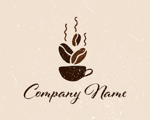 Coffee shop logo template, natural abstract coffee cup with steam, coffee house emblem, creative cafe logotype, modern trendy symbol design vector illustration