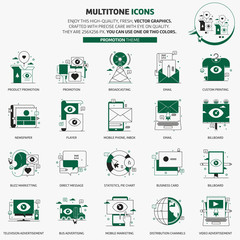 Multi tone icons, advertisement, backgrounds and graphics. The illustration is colorful, flat, vector, pixel perfect, suitable for web and print. Linear stokes and fills.