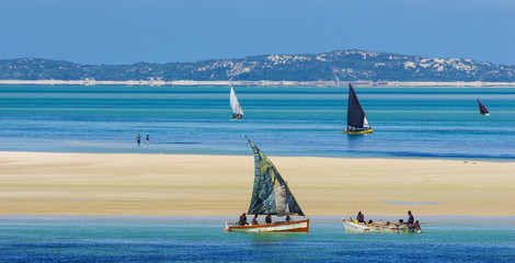 Traditional wooden boats in Mozambique