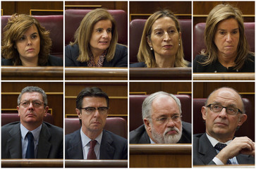 A combination photo shows new Spanish cabinet ministers attending the investiture debate at Parliament in Madrid