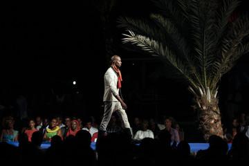 Model wears creation by Haitian designer Zacometti during 10th annual Dakar Fashion Week