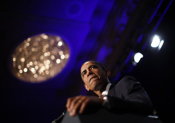 U.S. President Barack Obama speaks at a Democratic National Committee event in Washington