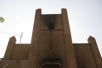 The burnt exterior of an evangelical church that was destroyed in riots demonstrating against Charlie Hebdo's cartoons of the Prophet Mohammad, is pictured in Niamey