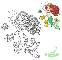 Beautiful mermaid girl sends an kiss coloring page on a white background