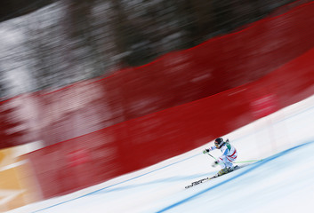 Elisabeth Goergl of Austria skis during the women's Downhill race at the World Alpine Skiing Championships in Schladming