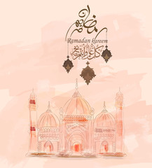 Illustration of Ramadan kareem and  mubarak. beautiful watercolor of Mosque and arabic islamic calligraphy.traditional greeting card wishes holy month moubarak and karim for muslim and arabic