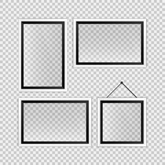 Realistic black and white empty photo frames template