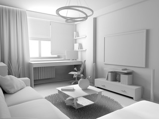 White living room interior