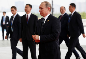 Russian President Vladimir Putin arrives to attend the G20 Summit in Hangzhou