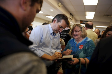U.S. Republican presidential candidate Cruz greets supporters at a campaign event at Shapiro's Delicatessen in Indianapolis, Indiana