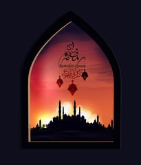 Ramadan Kareem greeting card with arabic city mosque and calligraphy ''Happy Ramadan kareem ''- beautiful sunset and buildings temple landscape.