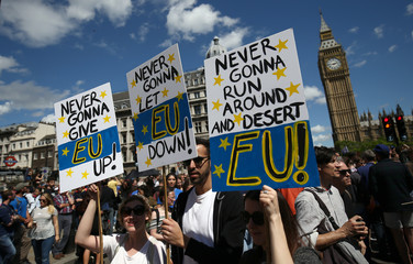 People hold banners during a demonstration against Britain's decision to leave the European Union, in central London