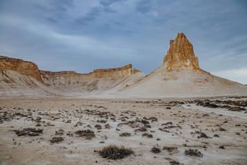 Peaked rocks in the canyon of Boszhira, chines Plateau Ustyurt, Kazakhstan